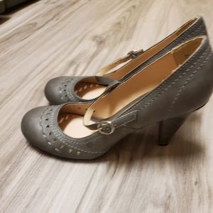 Grey Leather Mary Jane Pumps